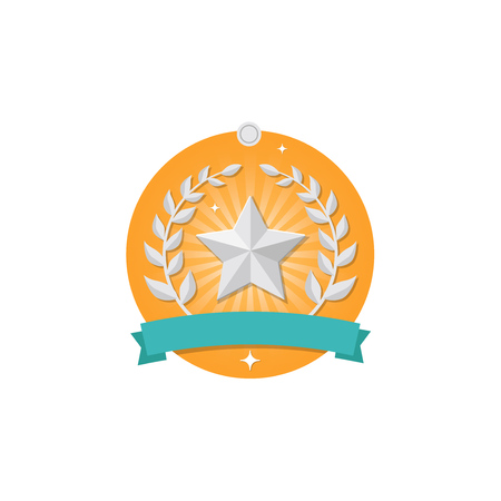 Vector 2nd Place winner medal icon with star and wreath isolated on white background. Trophy and awards vector flat design