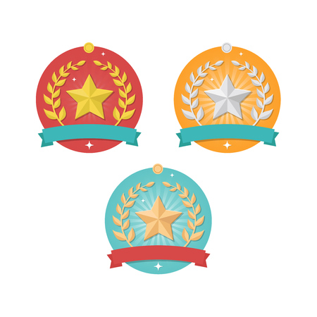 Vector Winner medal icons with stars and wreaths isolated on white background. Trophy and awards flat design vector set Illustration