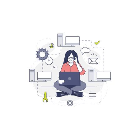 cross legged: Woman technical worker sitting cross legged with laptop and developing computer net. Vector concept of female IT worker in modern flat line style isolated on white background. Illustration