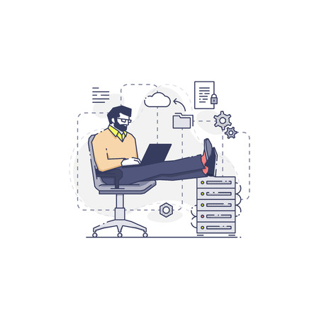 An adult engineer sitting in an office chair working on data cloud backup. Vector concept of male database worker in modern flat line style isolated on white background