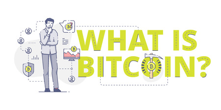 Illustrative typography horizontal banner with words What is bitcoin? and man thinking about bitcoins. Bitcoin related vector flat linear design concept.