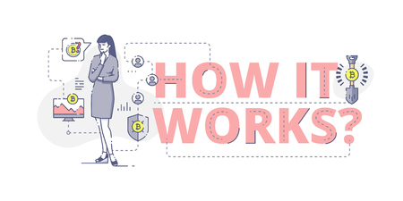 Illustrative typography horizontal banner with words 'How it works?' and woman thinking about bitcoin mining. Bitcoin related vector flat linear design concept Vectores