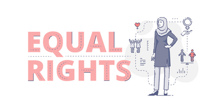 Illustrative typography horizontal banner with words 'Equal rights' and Muslim woman standing akimbo. Women's empowerment related vector flat linear design concept Vector Illustration