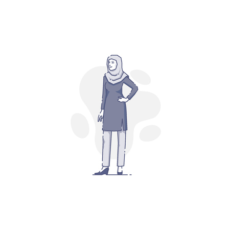 Young Muslim woman with hijab stands akimbo. Flat line female illustration for infographics in blue tone isolated on white background