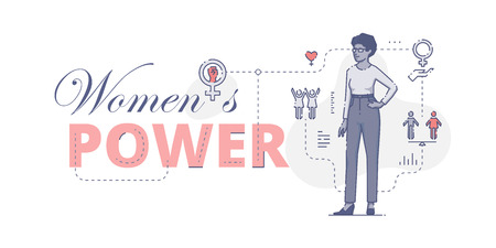 civil rights: Illustrative typography horizontal banner with words Womens power and African American woman standing akimbo, womens empowerment related vector flat linear design concept
