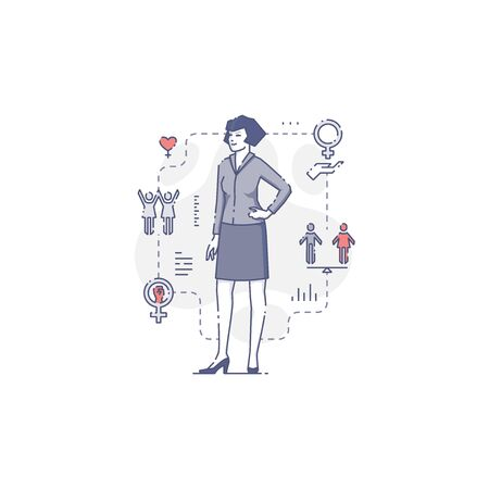 Young Caucasian woman standing akimbo surrounded by women's rights icons and signs.Women's empowerment vector illustration for infographics in blue tone isolated on white background
