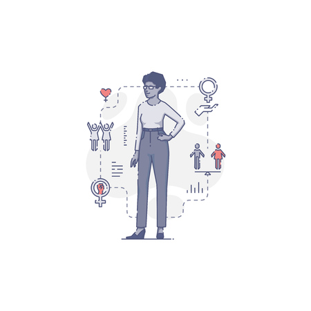 Young African-American woman standing akimbo surrounded by women's rights icons and signs.Women's empowerment vector illustration for info-graphics in blue tone isolated on white background Vector Illustration