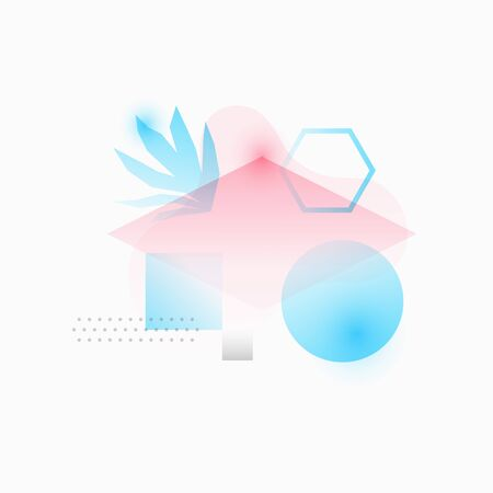 Pastel neon geometric shapes on white background. Trendy vector gradient forms with tropical leaves for web and print design