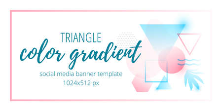 memphis: Color gradient social media banner template with geometric shapes and monstera leaf.