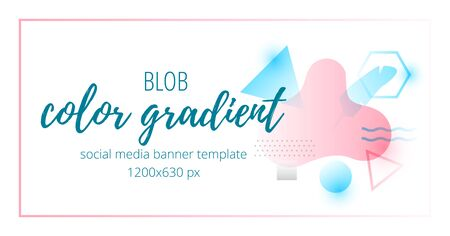 Color gradient social media banner template with geometric shapes and palm leaf. Vektorové ilustrace