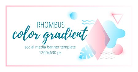Vector illustration of colorful vivid abstract gradient geometric banner.
