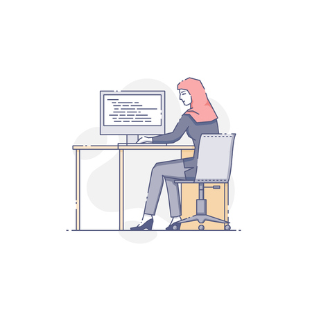 businessperson: Vector illustration of female worker sitting at stationery computer in office. Illustration