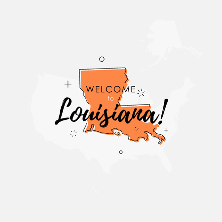 Vector illustration of greeting sign with welcome to Louisiana text and state silhouette.