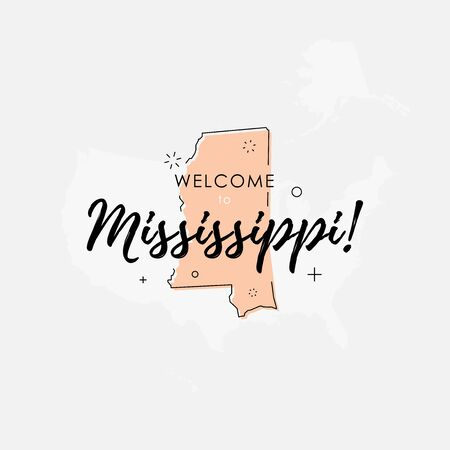 Vector illustration of greeting sign with welcome to Mississippi text and state silhouette.