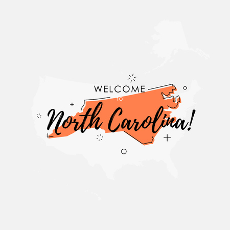 Vector illustration of greeting sign with welcome to North Carolina text and state silhouette. Иллюстрация