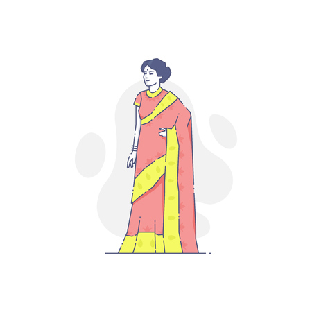 Vector illustration of Indian woman wearing orange and yellow colored traditional clothes.