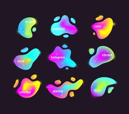 A Vector illustration of abstract different colored bright blots set. Illustration