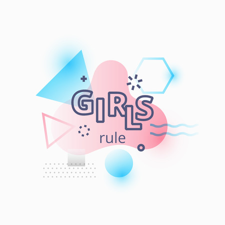 A Vector illustration of girls rule quote on abstract blue and pink background illustration.