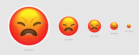 Different sized yellow irate emoji face with red shade
