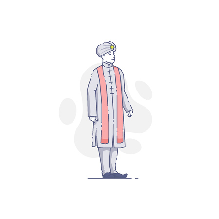 Vector illustration of Indian man in traditional clothes isolated on white