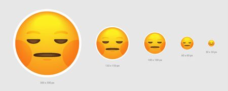Different sized yellow apathy emoji face with blank emotion