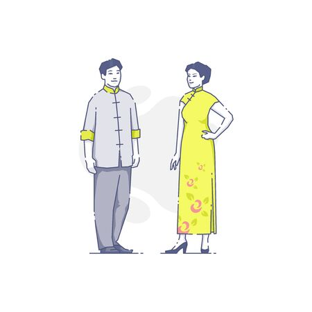 Vector illustration of Asian man and woman in traditional clothes standing together Illustration