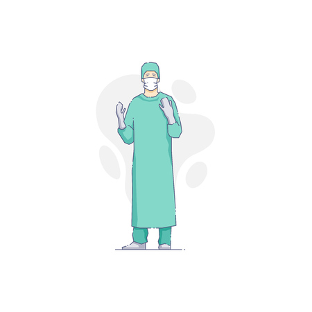 surgeon mask: Vector illustration of man doctor in gloves with hands up. Illustration