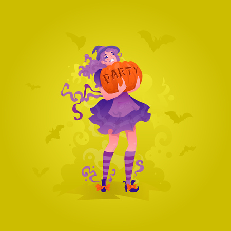 Cute redhead witch girl carrying pumpkin with party word carved. Illustration