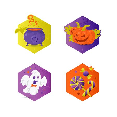 Vector bright illustrations of Jack-o-Lantern pumpkins, cauldron, ghost and candies for Halloween. Illustration