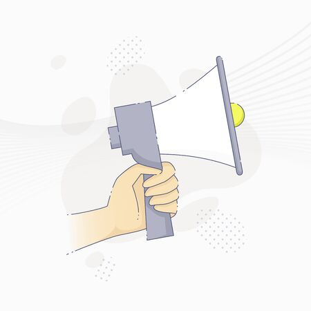 Vector illustration of hand holding megaphone in flat line style.