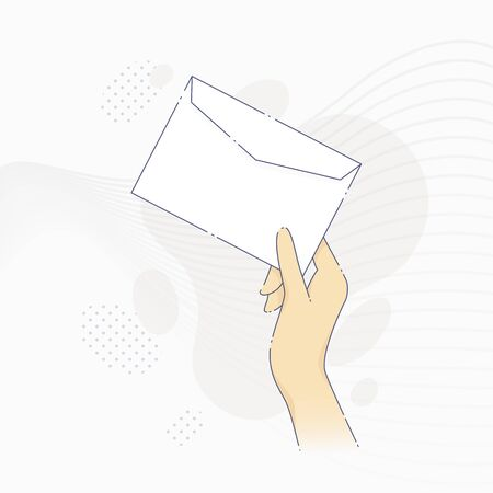 Vector illustration of hand holding an envelope in flat line style.