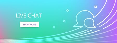 Blue, green and violet colored vector banner with live chat words and two speech bubbles in linear style. Illustration