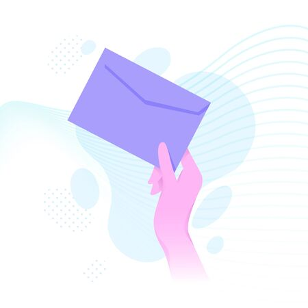 Vector illustration of hand holding an envelope in bright flat style. Material design color.