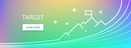 Violet, green and blue colored vector banner with target word and flag on mountain peak icon in art ine style.