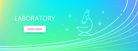 Blue colored medicine related vector banner with Laboratory word and microscope icon in outline style.