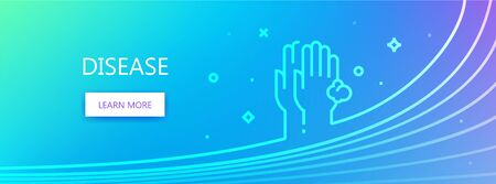 Blue colored medicine related vector banner with Disease word and diseased human hands icon in outline style.