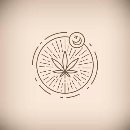 Medical marijuana brown circle emblem Ilustrace