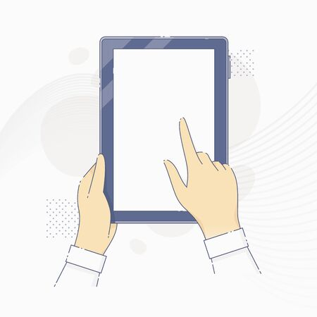 Hands holding tablet computer and tapping on screen Illustration