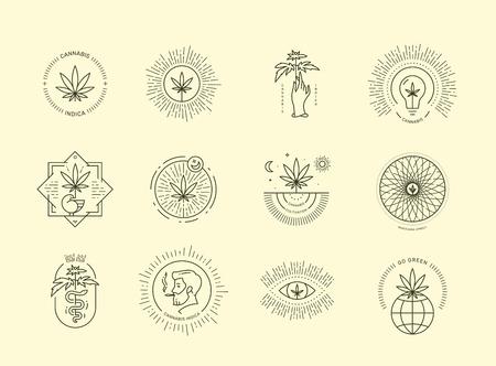 Cannabis emblem set on beige background