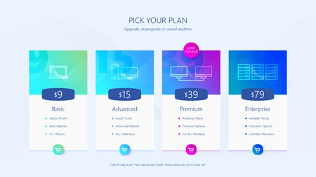 Pricing table UI design Vector illustration. Vectores