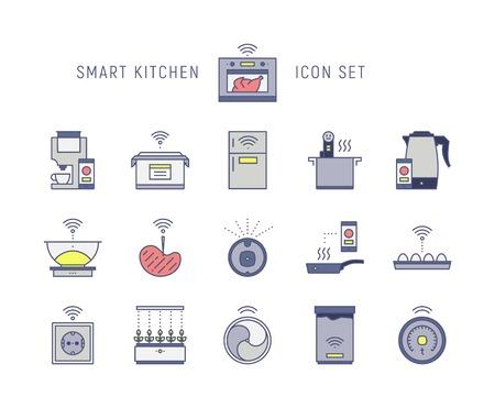 Smart hi-tech icons set Illustration