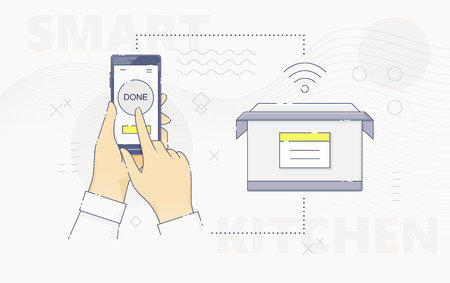 Hand controlling cooker with smartphone