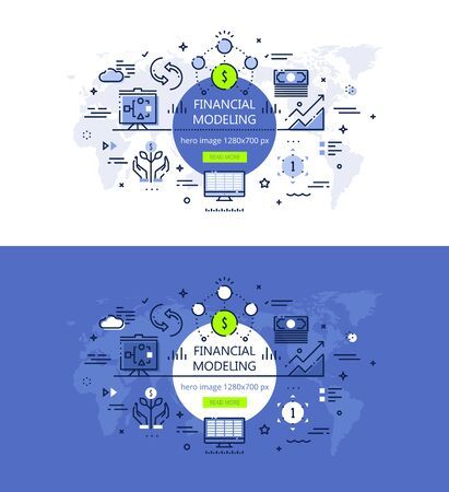Financial modelling linear banner set Vector illustration.