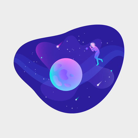 Astronaut floating in open space with planet Illustration