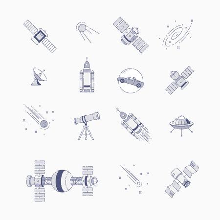 Space elements flat line 일러스트