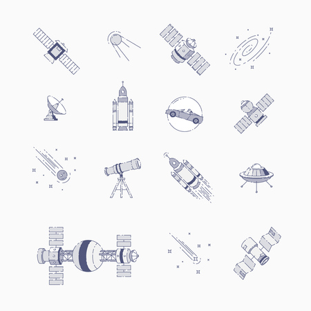 Space elements flat line Иллюстрация
