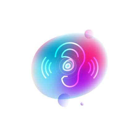 Hearing aids neon icon.