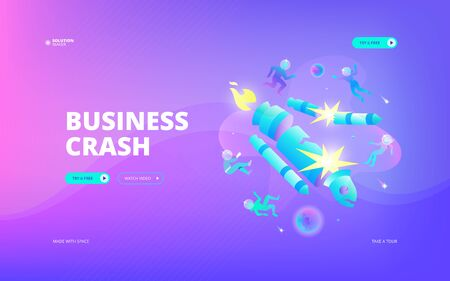 Vector illustration of developers in spacesuits flying apart while rocket crashing in space. Hero image and web banner design concept.