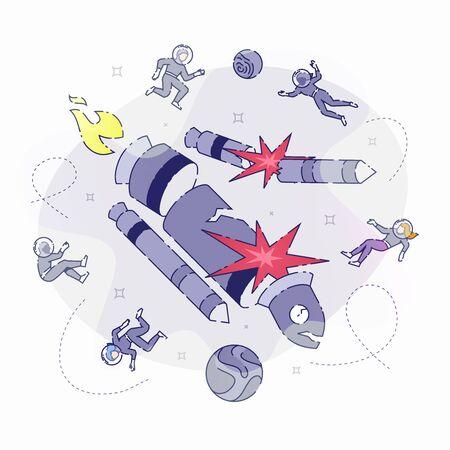 Rocket crashing in space illustration