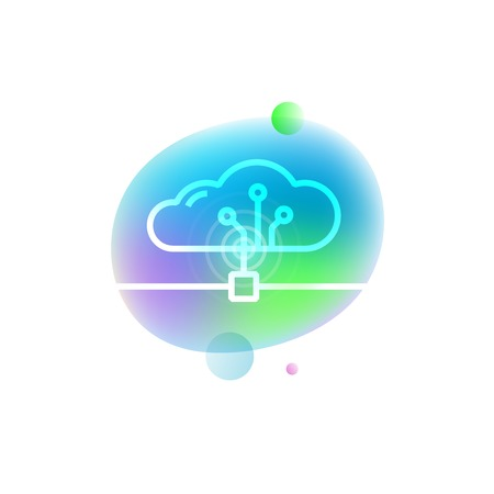 Vector illustration of cloud operating system icon on neon stain background. Home automation technology